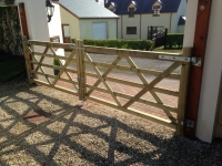 Pair of 5 bar gates in Cosheston - kept original posts
