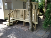 Decking with angled shape to fit in with surroundings