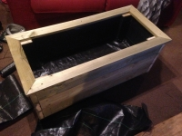 Mega Planter made from treated timber. Fully lined and with top capping, a solid base and integrated legs