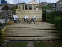 steps made from decking with planed fascia on the fronts