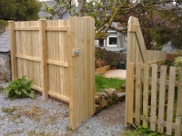 Fence and concealed gate made from planed 4x1s