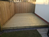 Low level decking to create barbecue area.