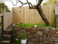 Picket fence and gate with small gaps between pickets