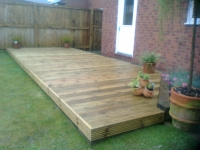 Decking complimented by corner border