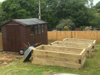 Raised beds made from 8x4 sleepers in Summerhill