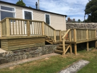 Multi Level Caravan Decking in Laugharne