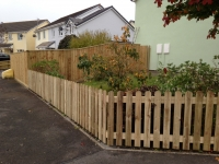 Picket fencing with round tops in Saundersfoot (feather edge fencing in background)