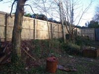 Feather Edge Fence built on a raised section of land